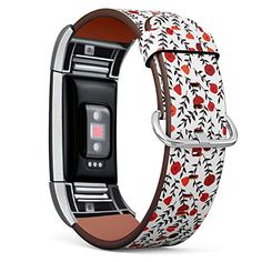 Compatible with Fitbit Charge 2, Replacement Leather Bracelet Wristband Strap + Adapters [ Elegant Poppy Can ] Ryanuka