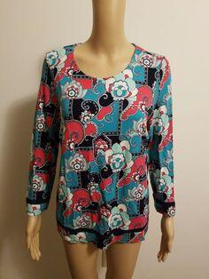 Juniors Mossimo Purple Floral Scoop Neck Thermal Shirt Top NWOT
