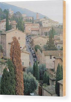 Assisi Afternoon wood print. Photography by Andrea Rea. A quiet afternoon in the streets of Assisi. In the Umbria region of Italy near Tuscany, Assisi is best known as being the birth place of St. Francis. Assisi is a also a popular travel destination for its incomparable landscape and distinct Roman architecture seen in many of the churches, homes and rooftops. Original work available as framed print, canvas, and more only on Fine Art America and Pixels.com. https://andrea-rea.pixels.com/