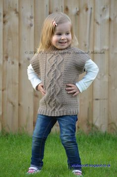 Ravelry: Cable Leisure Vest pattern by Tatsiana Matsiuk Free Baby Patterns, Kids Knitting Patterns, Knitting For Kids, Crochet For Kids, Free Knitting, Baby Knitting, Knit Crochet, Knit Cardigan Pattern, Knitted Poncho