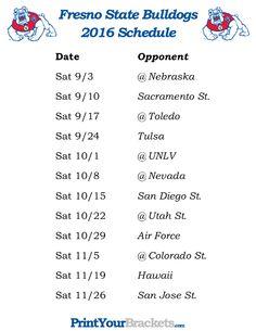Printable Fresno State Bulldogs Football Schedule 2016