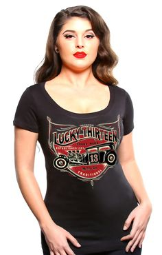 2d82386153a Lucky 13 Lady Hot Rodder Women's Black Scoop Neck T-Shirt - Modern Grease  Clothing. Modern Grease Clothing and Accessories Co.