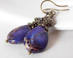 Dark Purple Earrings, Semi Precious Gemstone Jewelry, Violet Jasper Teardrop Dangles, Handmade Beaded Jewellery