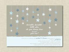 Twinkle Little Star Blue Baby Shower Invitation