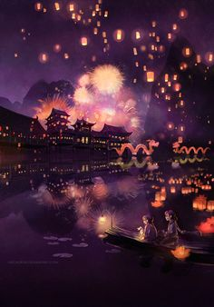 Chinese Festival Illustration Night Fireworks and Lanterns Niken Anindita Fantasy Landscape, Landscape Art, Fantasy Art, Chinese Festival, Lantern Festival, Illustration, Oeuvre D'art, Aesthetic Wallpapers, Asian Art