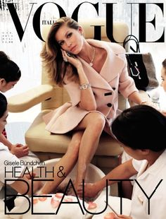 Gisele Bündchen on the cover of Vogue Italia. From her work ethic to supermom to nature's goddess, there's not much this woman CANNOT do!!!