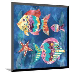 Boho Reef Fish II Mounted Print, Blue