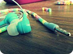 earphones + 1,000+ hama beads = funky rainbow earphones!