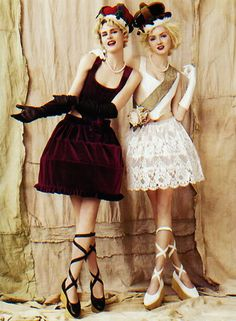 Vivienne Westwood's original mini-crini skirts and lace-up platforms. 1985 and later. Great fun to see how Westwood gets inspired by history.