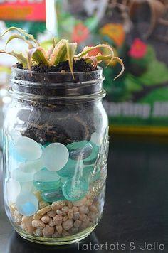 Easy and pretty  mason jar planters