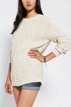 BDG Fall For Cable-Knit Sweater