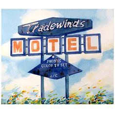 Vintage Neon Sign Art Original Watercolor by WatercolorByMuren, 12 x 12 ...$79.00