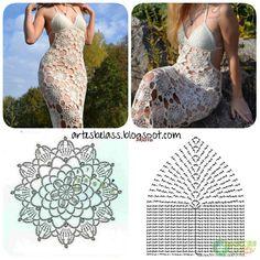 Artes Belas Crochet: Vestido Crochê longo