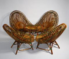 Rattan Sitting Room Group by Janine Abraham  Dirk Jan Rol, France, 1958/59 This Sitting Room Set is very comfortable.  Four Rattan Lounge Chairs with