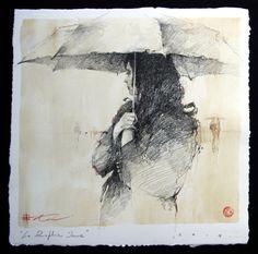 """Le Parapluie Jaune Drawing 17"""" x 17""""  http://www.andrekohnfineart.com"""