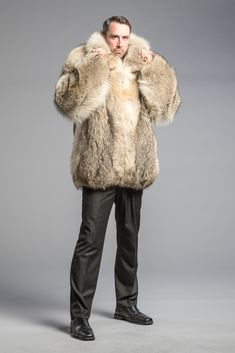 Coyote Bomber Jacket - Dittrich Furs Pathfinder Character, Mens Fur, Men's Collection, Gentleman, Bomber Jacket, Fur Jackets, Men Wear, Fur Coats, Mens Fashion