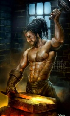 Hephaestus, Greek god of blacksmiths, craftsmen, artisans, sculptors, metals, metallurgy, fire and volcanoes.