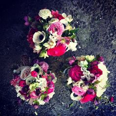 Three pretty maids. #bridesmaid #wedding  #flowers #love