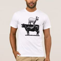 Goat on Cow T-Shirt - tap to personalize and get yours Goat, Tees, Summer, Mens Tops, T Shirt, Animals, Fashion, Animales, T Shirts