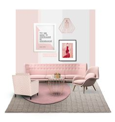 """""""Pink pastel living room"""" by nicerose ❤ liked on Polyvore featuring interior, interiors, interior design, home, home decor, interior decorating, &Tradition, Crystal Art, living room and livingroom"""