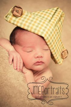 Newborn Baby Boy Sailor Hat Photography Prop Fabric Vintage Inspired Newspaper Hat Nautical Sewn Prop Infant Hat Gold Green Plaid Baby Hat. $19.50, via Etsy.