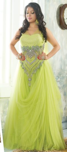 423751: Green color family stitched gown.