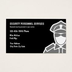 Security Services Business Cards Service Guard Visit