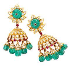 VAN CLEEF & ARPELS A Pair of Emerald, Ruby and Diamond Earrings – from FD
