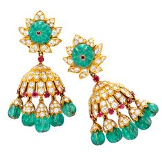 VAN CLEEF & ARPELS A Pair of Emerald, Ruby and Diamond Earrings – from FD