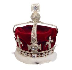 crown made for Queen Elizabeth, the Queen Mother. This contains the legendary Koh-i-noor, or Mountain of Light diamond. Indian in origin, its history can be traced to the thirteenth century. It was presented to Queen Victoria by the East India Company in 1850. Queen Mother wore it with the arches removed at her daughter Elizabeth's coronation in 1953.