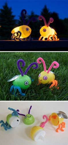 Upcycle plastic eggs to fireflies that light up...