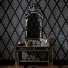 Jewel Black / Gold Glitter Wallpaper by Graham & Brown 31-166