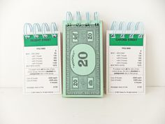 Set of Three Monopoly notebooks - Mini Notebooks  - Great Stocking Fillers £6.00