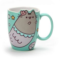 Pusheen Memaid Mug 12 oz This 12 oz. mug features a cute mermaid Pusheen graphic and detailed molded ears that lets you show off your fandom while sipping on