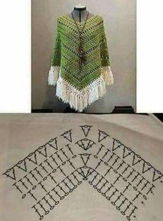 Boho Poncho pattern by HaakTrend by Fieke de Rooy - Her Crochet Crochet Bookmark Pattern, Crochet Bookmarks, Crochet Diagram, Crochet Chart, Crochet Stitches, Poncho Au Crochet, Crochet Poncho Patterns, Freeform Crochet, Crochet Blouse