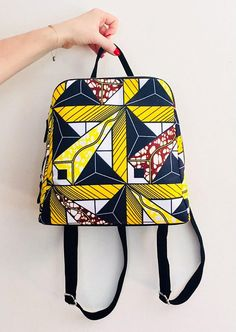Africa bag Backpack wax print african print ankara print ethnic geometric yellow, black print backpack for wom Ankara Bags, Afro Punk Fashion, African Accessories, Ethnic Bag, Ankara Designs, African Print Fashion, Ankara Fashion, Women's Fashion, Fabric Bags