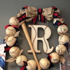 Baseball Wreath with Burlap Bow - Coach's Gifts - Front Door Wreaths - Check the Ballfield- Spring Wreaths - Softball - Baseball Team Gift Softball Wreath, Baseball Wreaths, Sports Wreaths, Baseball Crafts, Baseball Signs, Baseball Chair, Senior Softball, Baseball Stuff, Baseball Coach Gifts