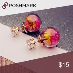 Flower Rhinestone Glass Earrings Condition: 100% Brand New Gender: Women Earring Type: Stud Earrings Material: Glass Color: as the picture shows  Earring Size : about 2.4*1.6cm Jewelry Earrings