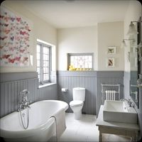 gray beadboard, above counter sink, vintage tub, and a collection of butterfly art. Upstairs Bathrooms, Grey Bathrooms, Beautiful Bathrooms, White Bathroom, Bathroom Interior, Bathroom Paneling, Bathroom Faucets, Wood Panel Bathroom, Wall Panelling