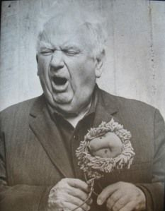 Alexander Calder roaring like a lion from his circus