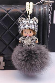 9Colors Monchhichi Brand Key Chain 2015 New Arrival 8CM Fox Fur Ball Monchhichi Crystal Keychain porte clef strass keyrings
