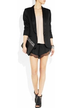 silk and black lace shorts with rose top
