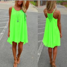 Sleeveless Beach Party Dress Bright neon green beach party dress!! Lined down to last few inches of the dress that is left sheer for a sexy look!! Chiffon top layer! Dresses Mini