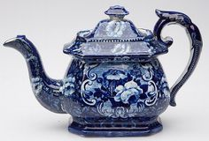 """STAFFORDSHIRE FLORAL TRANSFER-PRINTED TEAPOT & COVER, dark blue, squat-bellied London-form with """"Flower Basket in Scroll Reserve"""" pattern, unmarked."""