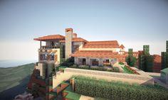 Italian Villa on World of Keralis Minecraft Map Minecraft Beach House, Villa Minecraft, Minecraft Mansion, Minecraft City, Minecraft House Designs, Minecraft Construction, Minecraft Architecture, Minecraft Creations, Minecraft Projects