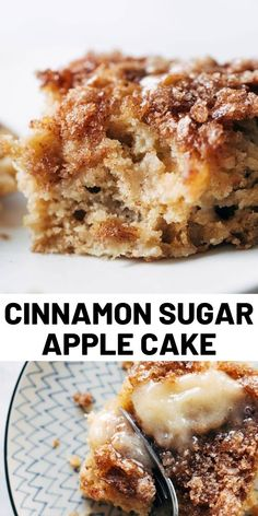This simple cinnamon sugar apple cake is light and fluffy, loaded with fresh apples, and topped with a crunchy cinnamon sugar layer! Delicious Cake Recipes, Homemade Cake Recipes, Apple Recipes, Yummy Cakes, Baking Recipes, 13 Desserts, Dessert Recipes, Cupcakes, Cupcake Cakes