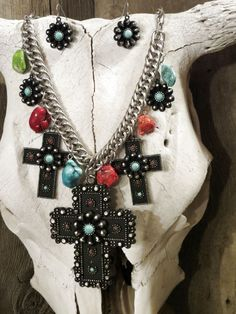 Cowgirl Bling Southwest CROSS Spanish TURQUOISE Indian Flowers  necklace set #Unbranded