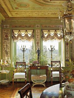 Howard at home - The dining room was inspired by Raphael's Loggia at the Vatican. The ceiling was painted by the artisan Alexander Solodukho - Howard Slatkin Fifth Avenue Style