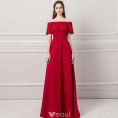 Modern / Fashion Burgundy Evening Dresses  2018 A-Line / Princess Off-The-Shoulder Short Sleeve Beading Sash Sweep Train Ruffle Backless Formal Dresses