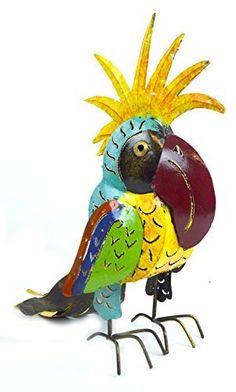 Metal Parrot Statue Sculpture Art Handmade Tropical African Parrot Head Candle Holder